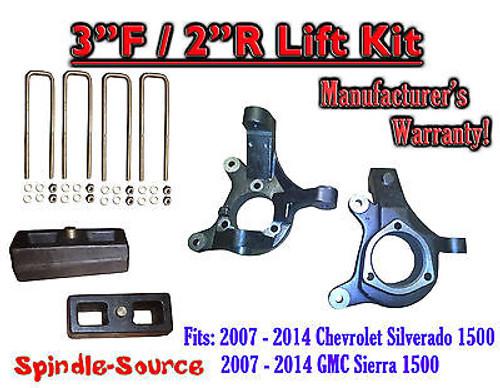 "2007 - 2014 Silverado Sierra 1500 3"" LIFT Spindles AND 2"" Rear Blocks 3""/2"" KIT"