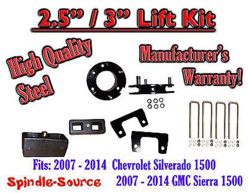 """2007 - 2014 Silverado GMC Sierra 1500 2.5"""" Front 3"""" Rear FULL Lift Kit 2.5""""/3"""""""