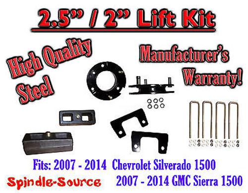 """2007 - 2014 Silverado GMC Sierra 1500 2.5"""" Front 2"""" Rear FULL Lift Kit 2.5""""/2"""""""