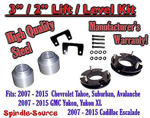 "2007 - 2015 Chevrolet Tahoe GMC Yukon 1500 SUV 3"" / 2"" FULL LIFT KIT Chevy 07-15"