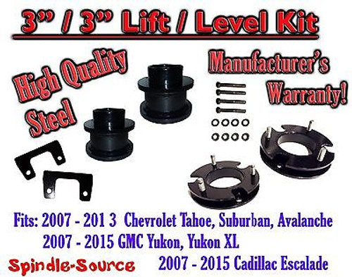 "2007 - 2015 Chevrolet Tahoe GMC Yukon 1500 SUV 3"" FULL LIFT KIT Chevy 07-15 XL"