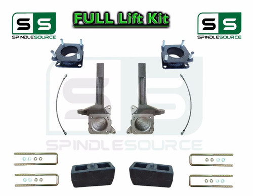 """2007 - 2016 Toyota Tundra 6"""" / 3 inch Spindle Block Lift Kit 2WD DOT Brake Lines"""