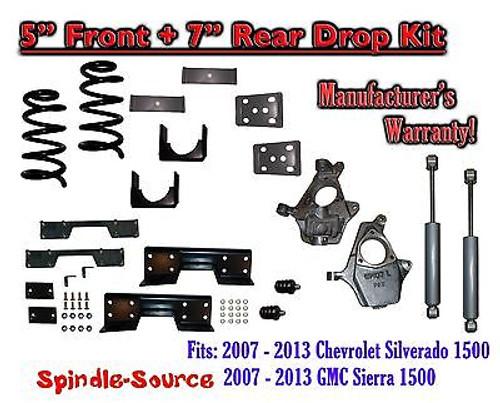 "2007 -13 Chevy Silverado / GMC Sierra 1500 5"" / 7"" Drop Lower Kit SHOCKS C-NOTCH"
