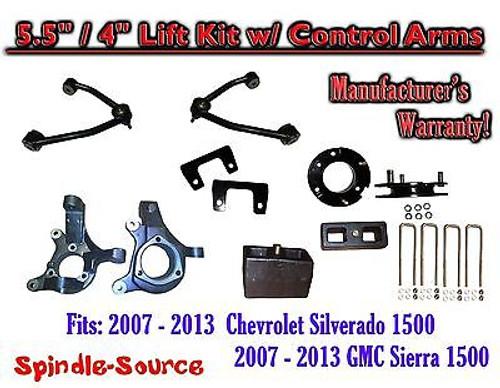 "2007 -13 Chevy Silverado GMC Sierra 1500 5.5"" / 4"" Spindle Lift KIT Control Arms"