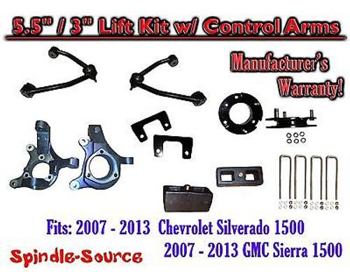 "2007 -13 Chevy Silverado GMC Sierra 1500 5.5"" / 3"" Spindle Lift KIT Control Arms"