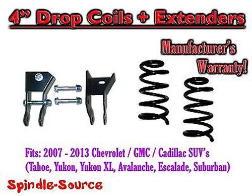 "2007- 13 Chevy GMC SUV 4"" Drop Lowering Coils Springs Suburban Tahoe + EXTENDERS"