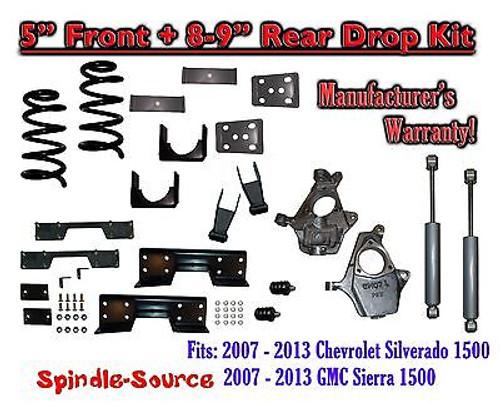 "2007 -13 Chevy Silverado / GMC Sierra 1500 5"" / 8 - 9"" Drop Kit SHOCKS C-NOTCH"