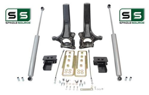 """2009 - 2014 Ford F-150 4"""" / 2"""" Lift Spindle Knuckle Blocks U-bolt Kit + SHOCKS"""