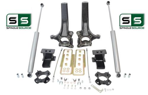 """2009 - 2014 Ford F-150 6.5"""" / 4"""" Lift Spindle Knuckle Blocks U-bolt Kit + SHOCKS"""
