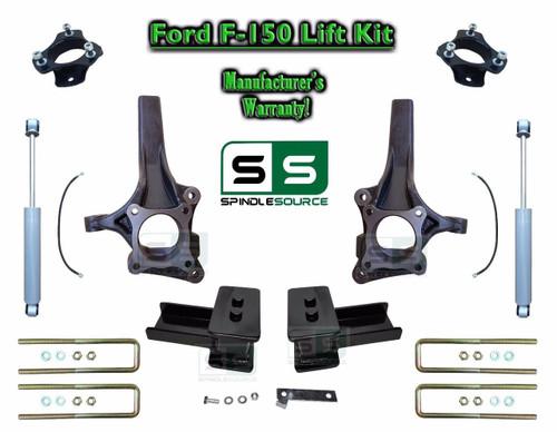 """2009 - 2014 Ford F-150 6"""" / 3"""" Lift Spindle Knuckle Blocks U-bolt Kit + SHOCKS"""