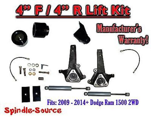 "2009 - 2016 Dodge Ram 1500 4"" / 4"" Spindle LIFT KIT (2wd ONLY) + Rear SHOCKS"