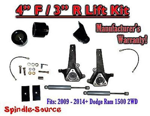"2009 - 2016 Dodge Ram 1500 4"" / 3"" Spindle LIFT KIT (2wd ONLY) + Rear SHOCKS"