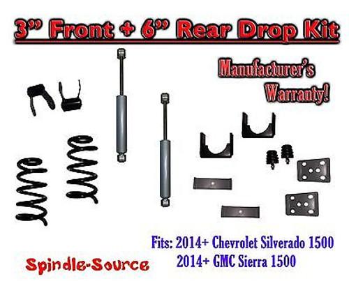 "2014-16 Chevy Silverado / GMC Sierra 1500 3"" / 6"" Drop Lowering Kit + SHOCKS"