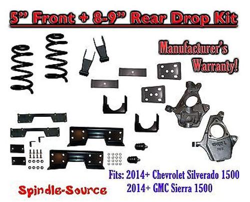 "2014-16 Chevy Silverado / GMC Sierra 1500 5"" / 8 - 9"" Drop Lower Kit + C-NOTCH"