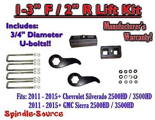 "2011-15 Chevy Silverado Sierra 2500 3500 1 -3""F / 2""R Torsion LIFT Keys KIT Ext"