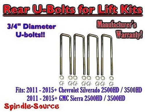 """2011-15 Chevy Silverado Sierra 2500 3500 U-bolts for 2"""" or 3"""" blocks 3/4"""" Diam"""