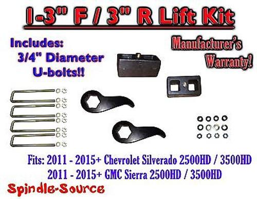 "2011-15 Chevy Silverado Sierra 2500 3500 1 -3""F / 3""R Torsion LIFT Keys KIT Ext"