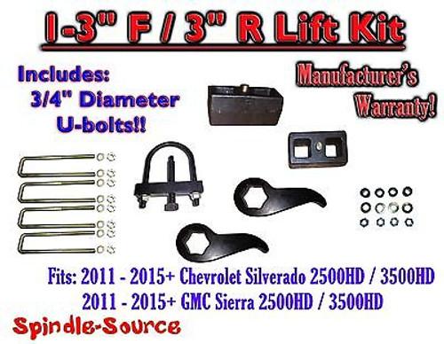 """2011-15 Chevy Silverado Sierra 2500 3500 1 -3""""F / 3""""R Torsion LIFT KIT Ext TOOL"""