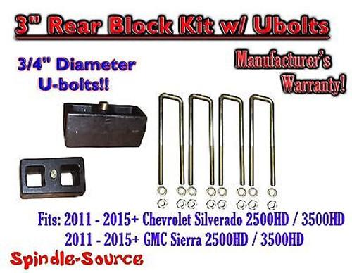 """2011-15 Chevy Silverado Sierra 2500 3500 3/4"""" U-bolts and 3"""" Rear Lift Blocks"""