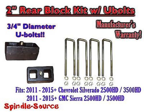 """2011-15 Chevy Silverado Sierra 2500 3500 3/4"""" U-bolts and 2"""" Rear Lift Blocks"""
