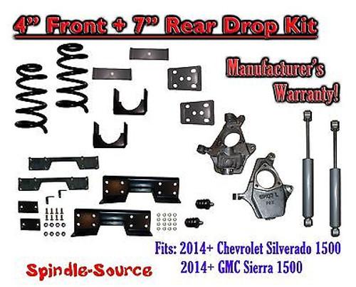 "2014-16 Chevy Silverado / GMC Sierra 1500 4"" / 7"" Drop Lower Kit SHOCKS C-NOTCH"