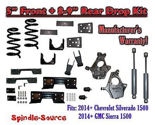 "2014-16 Chevy Silverado / GMC Sierra 1500 5"" / 8 - 9"" Drop Kit SHOCKS C-NOTCH"