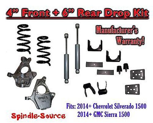 "2014-16 Chevy Silverado / GMC Sierra 1500 4"" / 6"" Drop Lowering Kit + SHOCKS"