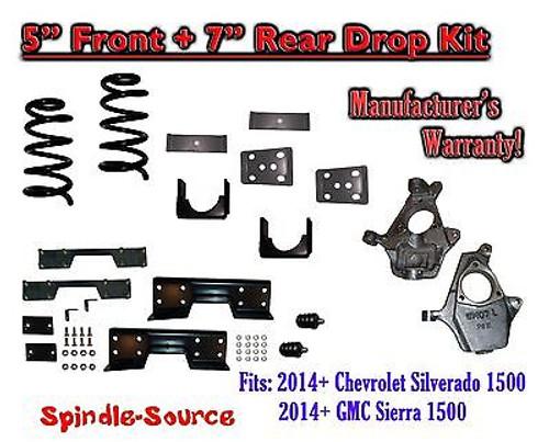 "2014-16 Chevy Silverado / GMC Sierra 1500 5"" / 7"" Drop Lower Kit + C-NOTCH"