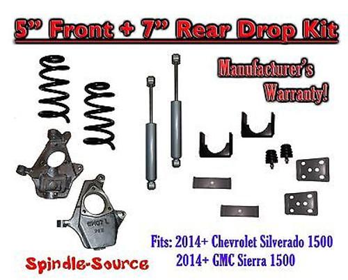 "2014-16 Chevy Silverado / GMC Sierra 1500 5"" / 7"" Drop Lowering Kit + SHOCKS"