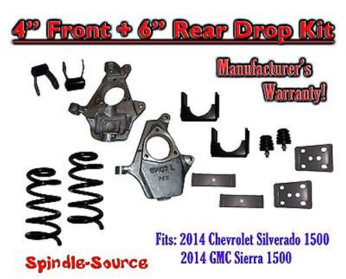 "2014-16 Chevrolet Chevy Silverado / GMC Sierra 1500 V8 4"" / 6"" Lowering Drop kit"