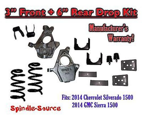 "2014-16 Chevrolet Chevy Silverado / GMC Sierra 1500 V6 3"" / 6"" Lowering Drop kit"