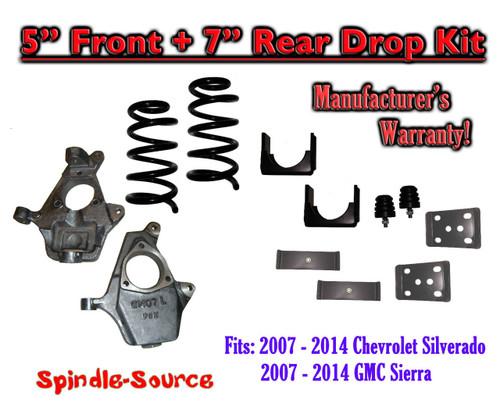 "2014-16 Chevrolet Chevy Silverado / GMC Sierra 1500 V8 5"" / 7"" Lowering Drop kit"