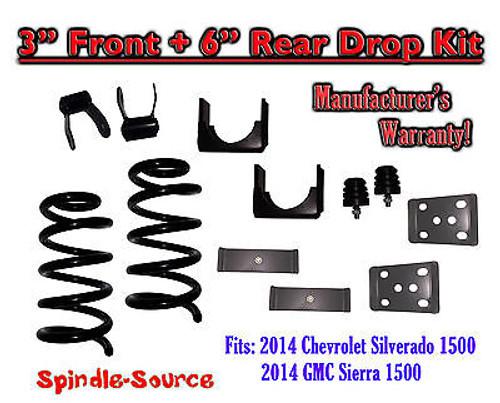 "2014-16 Chevrolet Chevy Silverado / GMC Sierra 1500 V8 3"" / 6"" Lowering Drop kit"