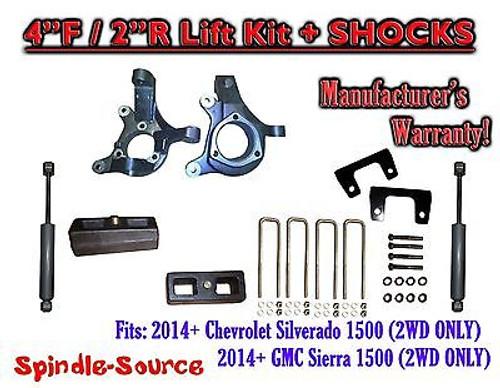 "2014+ Chevrolet Silverado GMC Sierra 1500 4"" / 2"" Spindle LIFT KIT + SHOCKS"