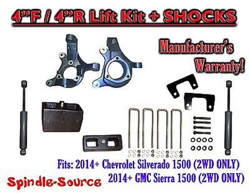"2014+ Chevrolet Silverado GMC Sierra 1500 4"" / 4"" Spindle LIFT KIT + SHOCKS"