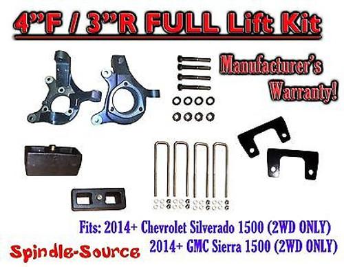 "2014+ Chevrolet Silverado GMC Sierra 1500 4"" inch / 3"" Spindle LIFT KIT 2WD"