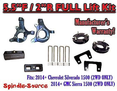 "2014+ Chevrolet Silverado GMC Sierra 1500 5.5"" inch / 2"" Spindle LIFT KIT 2WD"