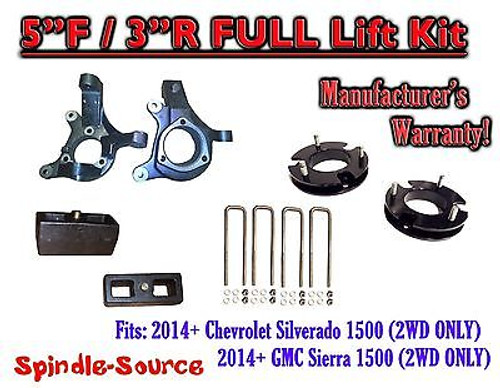 "2014+ Chevrolet Silverado GMC Sierra 1500 5"" inch / 3"" Spindle LIFT KIT 2WD"