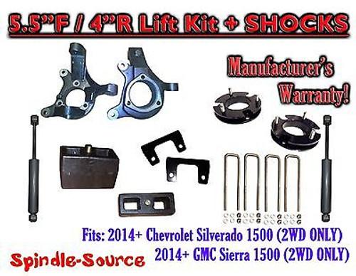 "2014+ Chevrolet Silverado GMC Sierra 1500 5.5"" / 4"" Spindle LIFT KIT + SHOCKS"