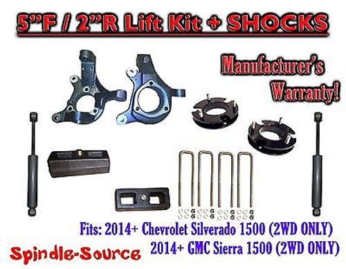 "2014+ Chevrolet Silverado GMC Sierra 1500 5"" / 2"" Spindle LIFT KIT + SHOCKS"