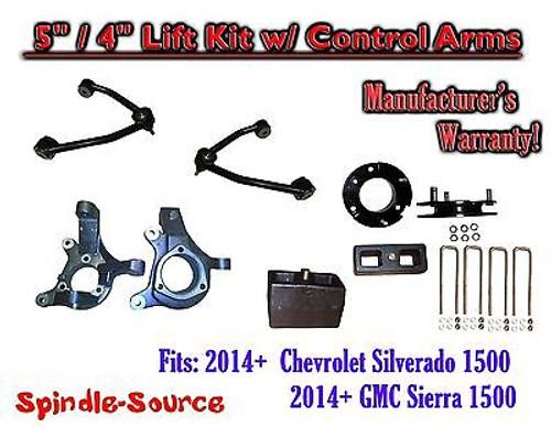 "2014+ Chevrolet Silverado GMC Sierra 1500 5"" / 4"" Spindle Lift KIT Control Arms"