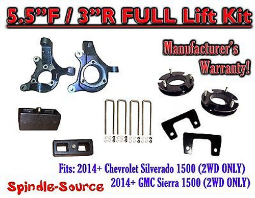 "2014+ Chevrolet Silverado GMC Sierra 1500 5.5"" inch / 3"" Spindle LIFT KIT 2WD"