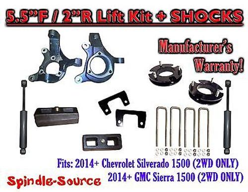 "2014+ Chevrolet Silverado GMC Sierra 1500 5.5"" / 2"" Spindle LIFT KIT + SHOCKS"