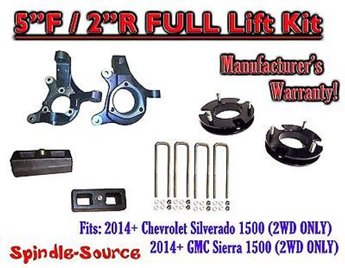 "2014+ Chevrolet Silverado GMC Sierra 1500 5"" inch / 2"" Spindle LIFT KIT 2WD"