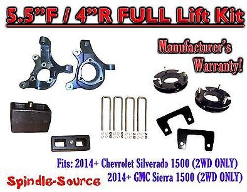 "2014+ Chevrolet Silverado GMC Sierra 1500 5.5"" inch / 4"" Spindle LIFT KIT 2WD"