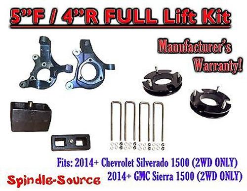 "2014+ Chevrolet Silverado GMC Sierra 1500 5"" inch / 4"" Spindle LIFT KIT 2WD"