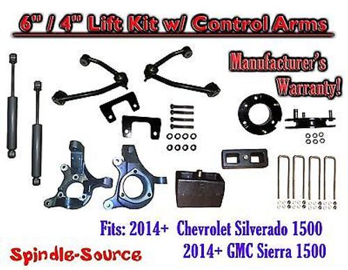"2014+ Chevy Silverado 1500 GMC Sierra 6"" / 4"" Spindle Lift Control Arms + SHOCKS"