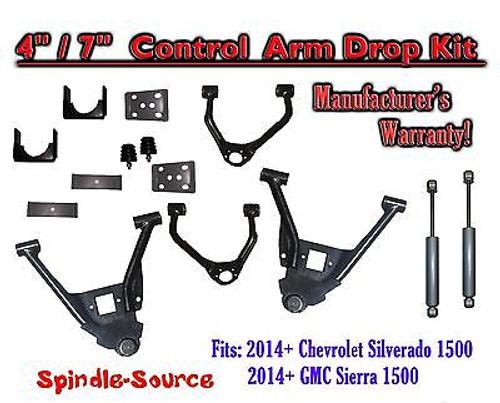 "2014-16 Chevrolet Silverado GMC Sierra 4/7"" Lowering Drop CONTROL ARMS KIT +SHOCKS"