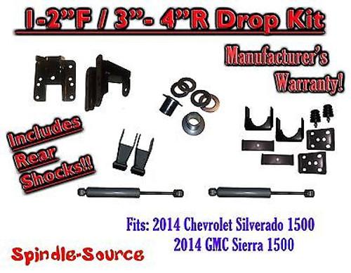 2014-16 Chevy Silverado GMC Sierra 1/3 - 2/4 FULLY Adjustable Lowering Kit+ SHOCKS