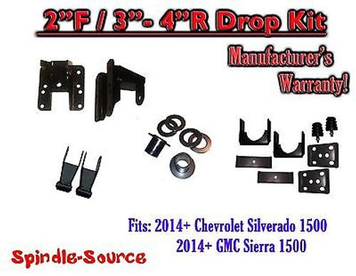 2014-16 Chevy Silverado GMC Sierra 1/3 - 2/4 FULLY Adjustable Lowering Kit Hanger